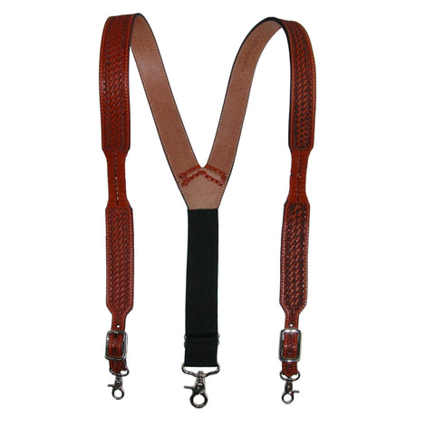Men's Big & Tall Leather Suspenders with Metal Swivel Hook Ends