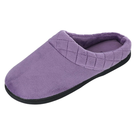 Women's Microfiber Velour Clog Slipper with Quilt Detail
