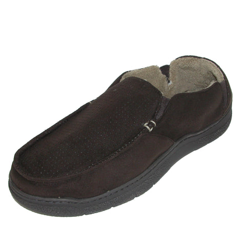 Men's Microfiber Suede Closed Back Slipper with Memory Foam