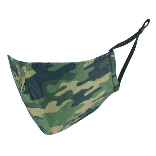 Adult Camouflage Print Protective Face Mask with Built-In Filter Pocket