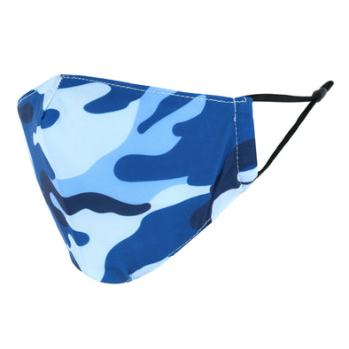 Kid's Blue Camouflage Print Adjustable Face Mask