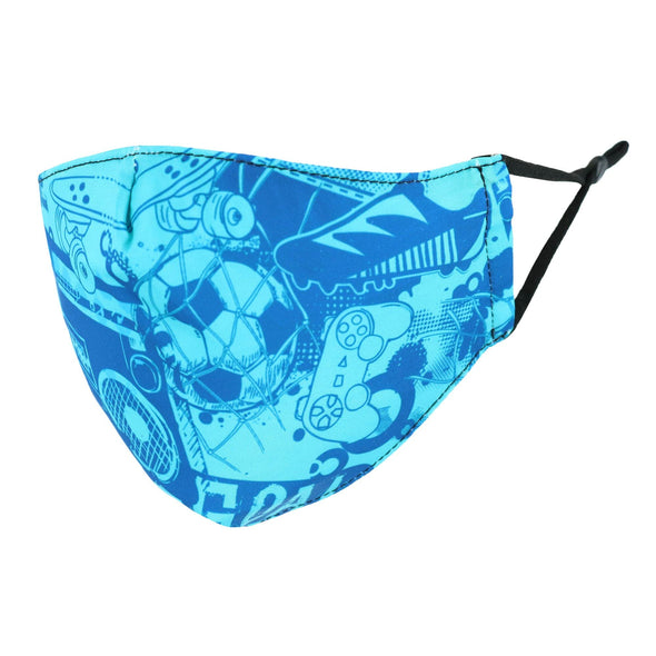 Kid's Sports Print Protective Face Mask with Adjustable Straps