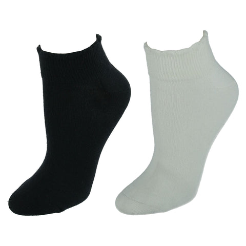 Women's American Collection Scallop Top Low Cut Socks 2 Pair