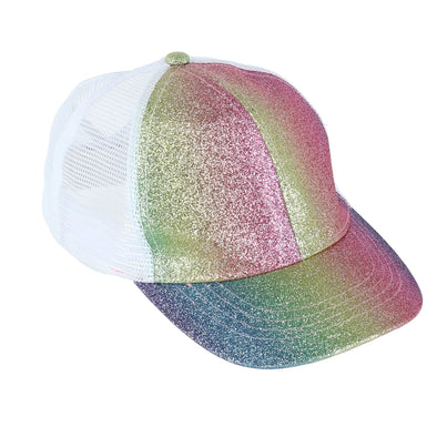 Kids' Multi Glitter Adjustable Ponytail Baseball Cap