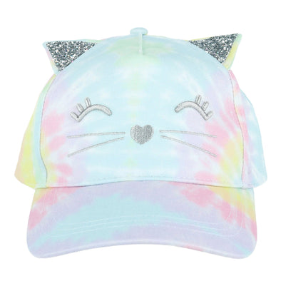 Girl's Tie-Dye Adjustable Ponytail Baseball Cap with Cat Face