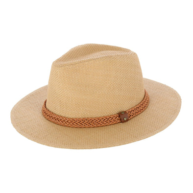 Women's Panama Straw Fedora Hat with Faux Leather Band