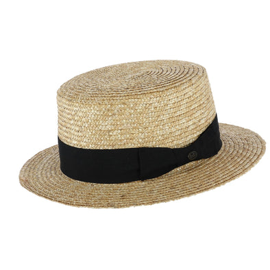 Men's Straw Boater Hat with Black Band
