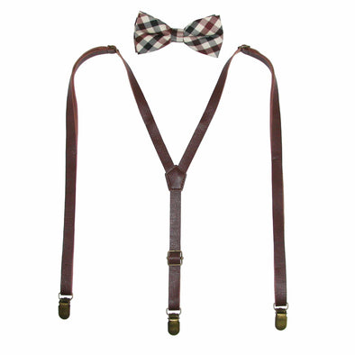 Men's Brown Plaid Bow Tie with Brown Faux Leather Suspender Set