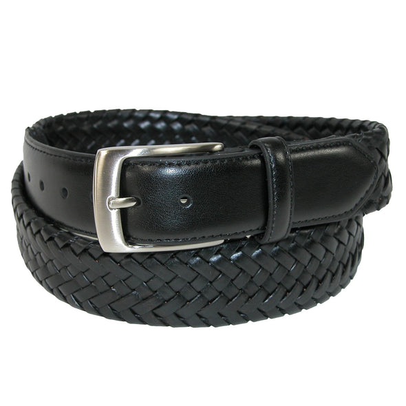 Men's Big & Tall Comfort Stretch Leather Braided Belt