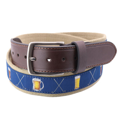 Men's Ribbon Belt with Golf Clubs and Beer