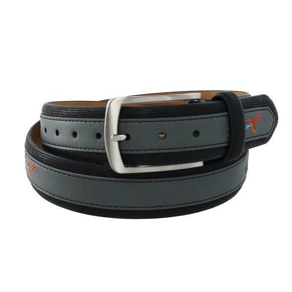 Men's Leather Golf Belt with Fish Print Overlay