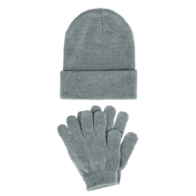 Women's Basic Beanie Cuff Cap with Matching Gloves