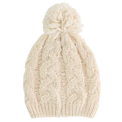 Women's Chenille Cable Knit Beanie Cap with Knit Pom