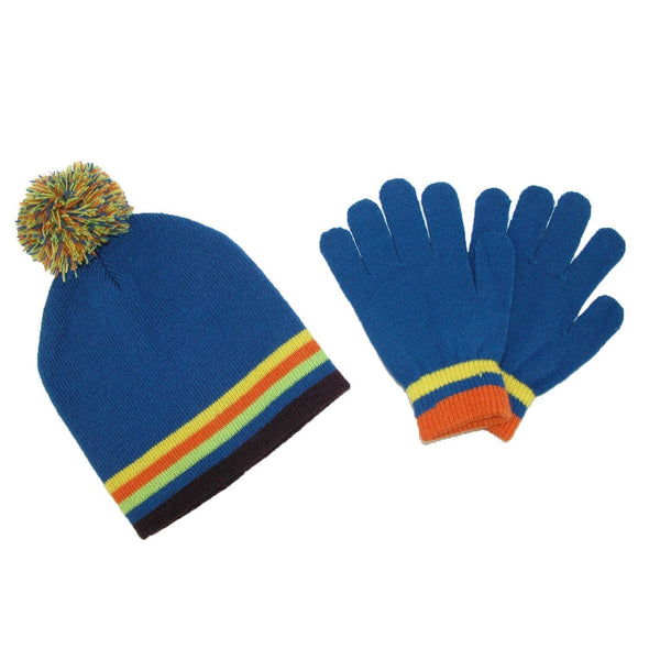 Kids' Knit Striped Hat and Gloves Winter Set