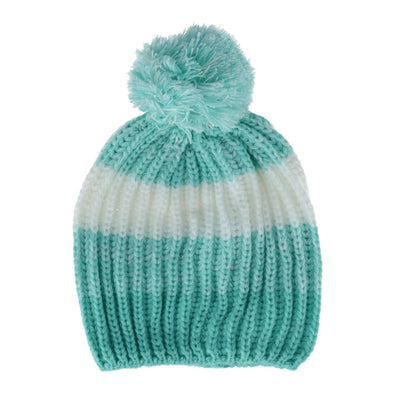 Kids' Heavy Knit 2-Tone Striped Hat with Pom