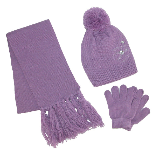 Girl's Flower Beanie Hat and Scarf Winter Set