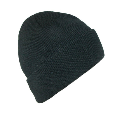 Men's Winter Black Stocking Cuff Knit Cap (Pack of 2)
