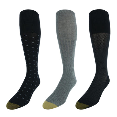 Men's Over the Calf Moisture Control Fashion Socks (Pack of 3)