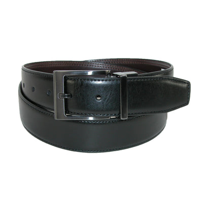 Men's Leather Feather Edge Reversible Belt with Gunmetal Buckle