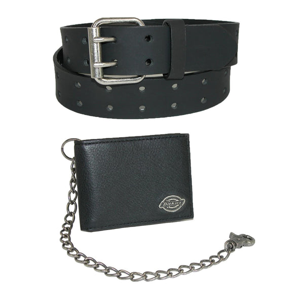 Men's Leather Chain Wallet and Two Hole Bridle Belt Set