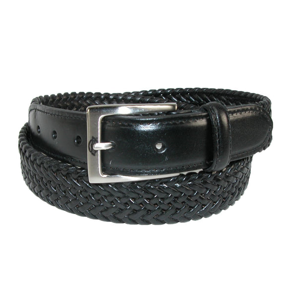 Men's Leather Braided Stretch Belt