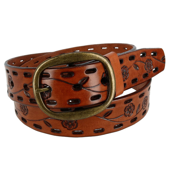 Women's Center Bar Buckle Belt with Flowers
