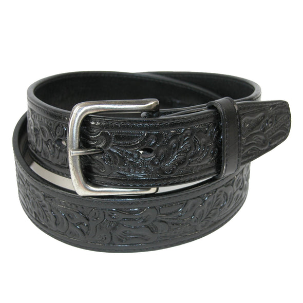 Embossed Leather Money Belt with Removable Buckle