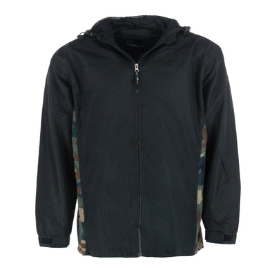 Men's Hooded Windbreaker Rain Jacket with Camo Side Panel