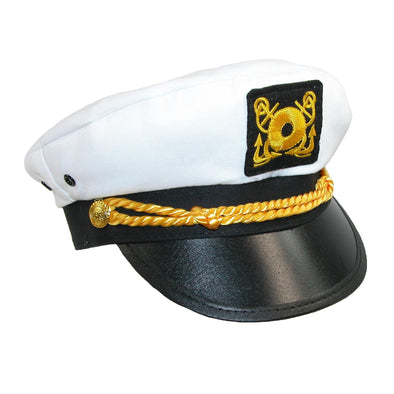 Kids' Cotton White Nautical Boating Captains Cap (Pack of 2)