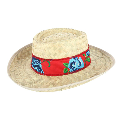 Men's Straw Gambler Hat with Tropical Print Band