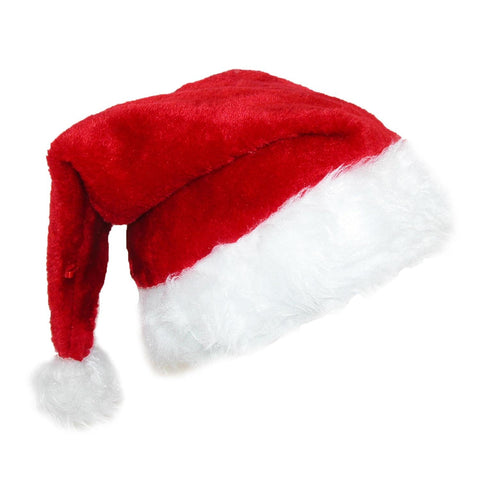 Deluxe Plush Trim Santa Novelty Holiday Hat (Pack of 2)