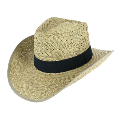 Men's Woven Straw Western Hat with Wide Black Band