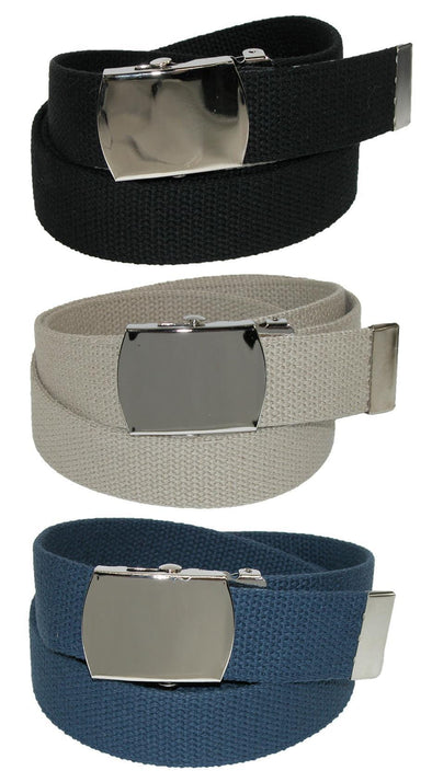 Big & Tall Cotton Belt with Nickel Buckle (Pack of 3 Colors)