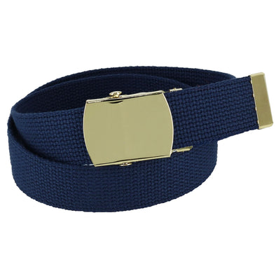 Kids' Cotton Adjustable Belt with Brass Military Buckle