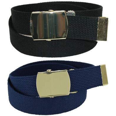 Kid's Cotton Belt with Brass Military Buckle (Pack of 2 Colors)