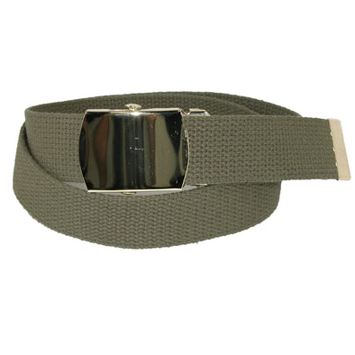 Kids' Cotton Adjustable Belt with Brass Military Buckle (Pack of 2)