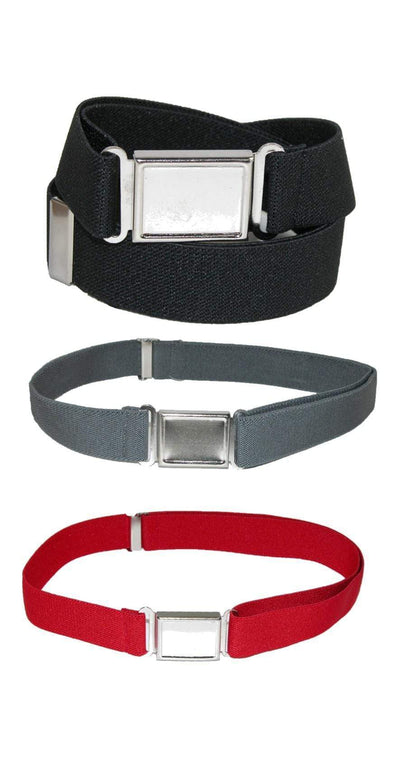 Kids' Adjustable Elastic Belt with Magnetic Buckle (Pack of 3 Colors)