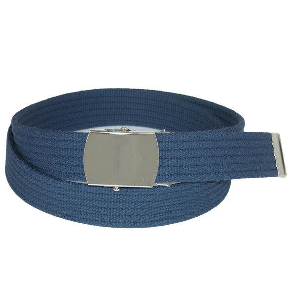 Ribbed Fabric Belt with Nickel Buckle