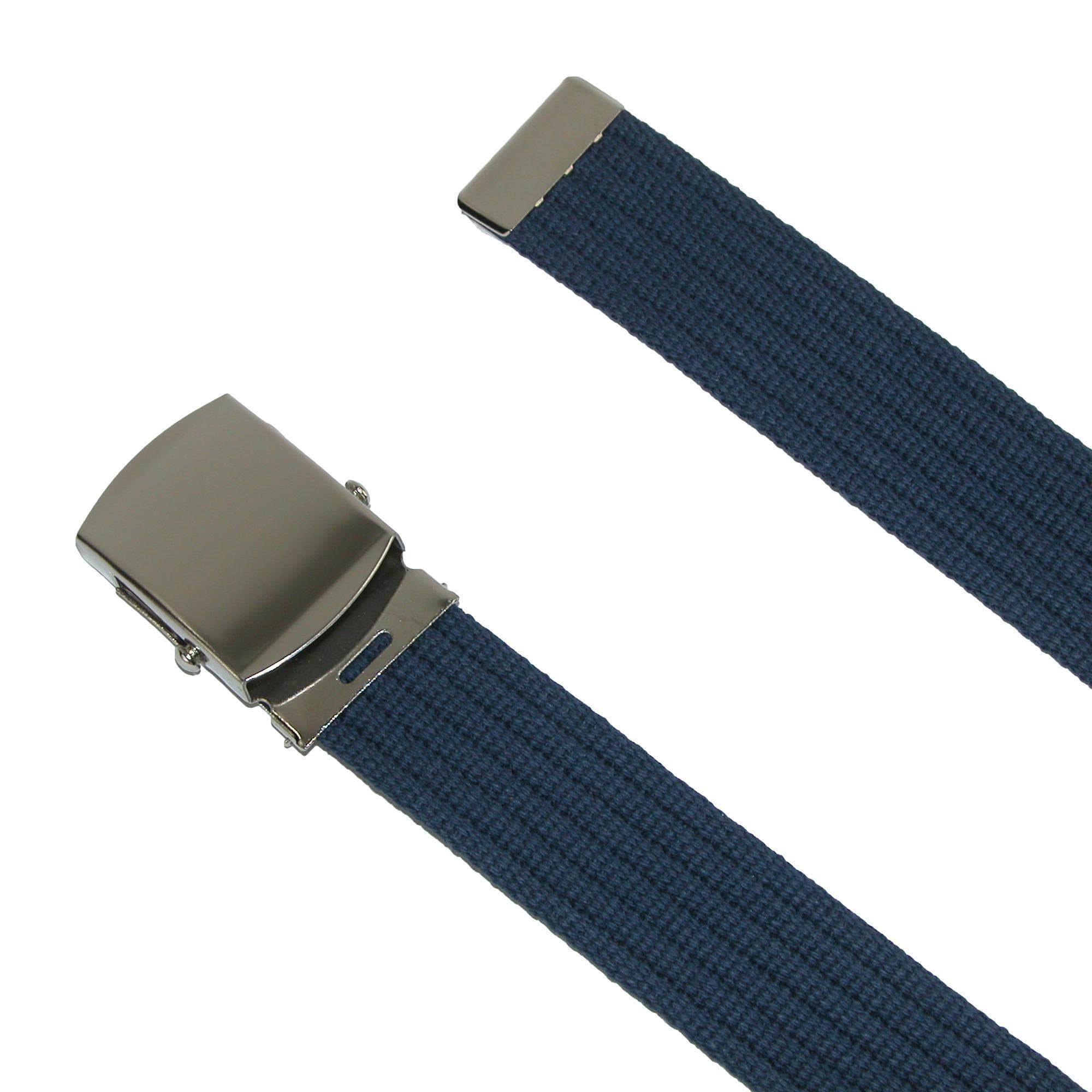 CTM  Big & Tall Ribbed Fabric Belt with Nickel Buckle