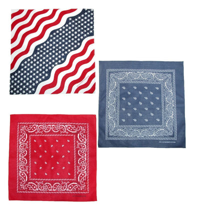Wavy American Flag and Paisley Bandana Kit (Pack of 3)