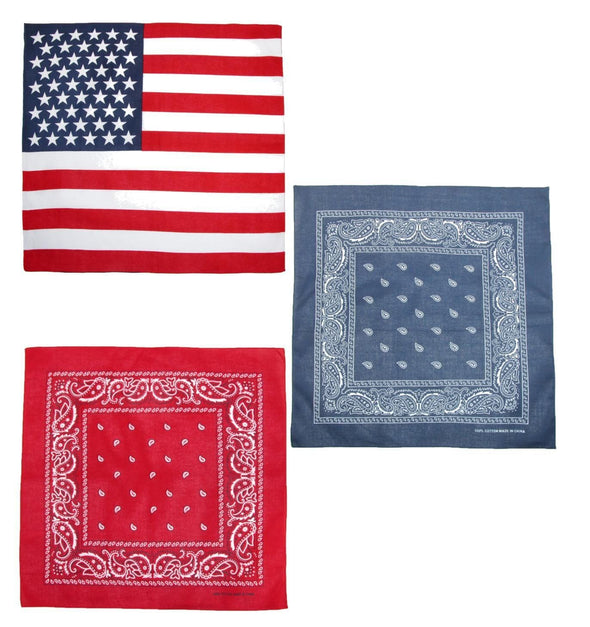 American Flag and Paisley Bandana Kit (Pack of 3)