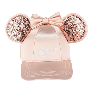 Girl's Rose Gold Minnie Mouse Baseball Cap with Bling Ears