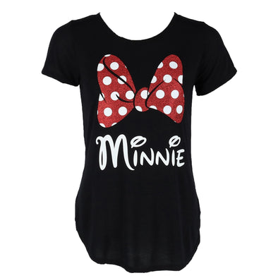 Women's Fashion Glitter Minnie Mouse Bow T Shirt