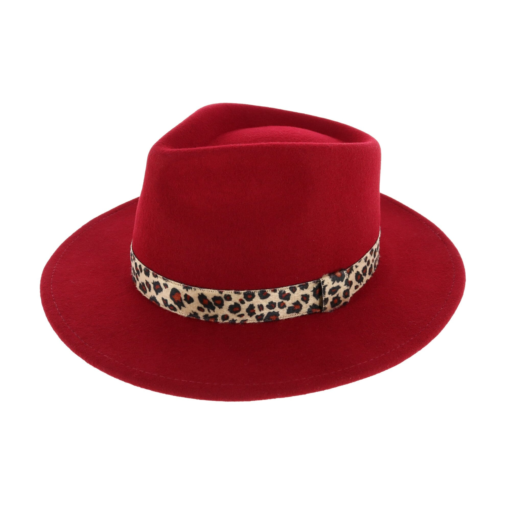 Jeanne Simmons Women's Large Brim Wool Felt Fedora Hat with Leopard Band