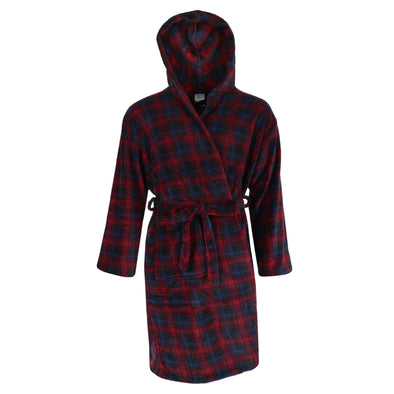 Men's Fleece Hooded Flannel Robe