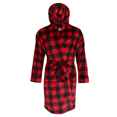 Men's Buffalo Plaid Plush Hooded Robe