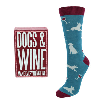 Dogs and Wine Box Sign & Socks Gift Set