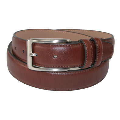 Men's Leather Belt with Double Loop Keeper