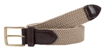 Men's Elastic Braided Stretch Belt with Leather Tabs