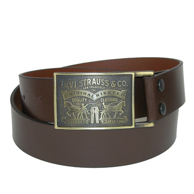 Men's Leather Bridle Belt with Antiqued Removable Plaque Buckle
